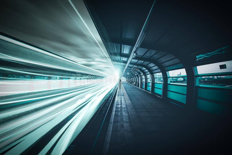 Time-lapse Photography of Train in Subway Station stock photo