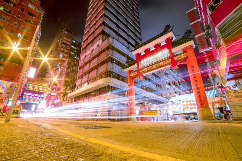 Time Lapse Photography Of Vehicles Passing Through China Town stock photography
