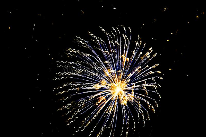 Time Lapse of a Starburst. A bright and brilliant time lapse photo of one large firework blast royalty free stock image