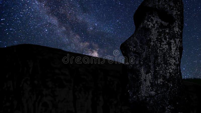Time lapse with stars, foreground statue Moai in the Rano Raraku volcano Easter Island, Chile. Time lapse with stars, foreground statue Moai in the Rano Raraku royalty free stock images