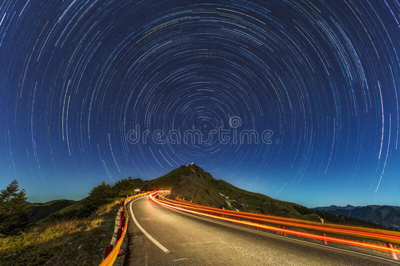 Time Lapse of Stars and Street stock photos