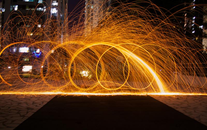 Time-lapsed Photography of Fire Crackers stock image
