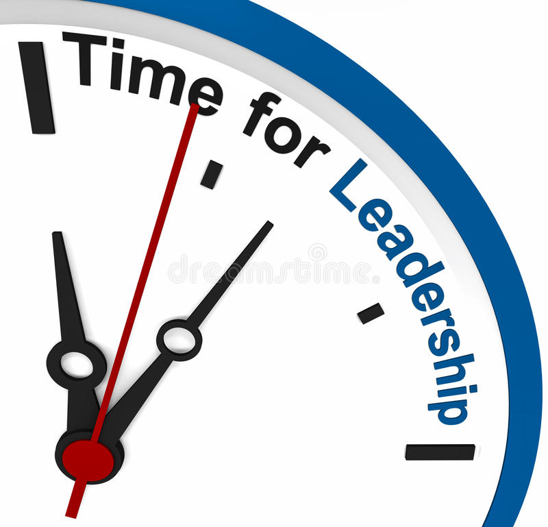 Time for leadership. On a clock dial, in blue color, white background stock illustration