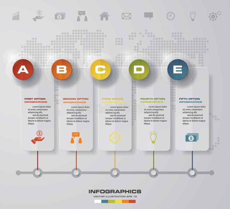 Time line description. 5 steps timeline infographic for business design stock illustration