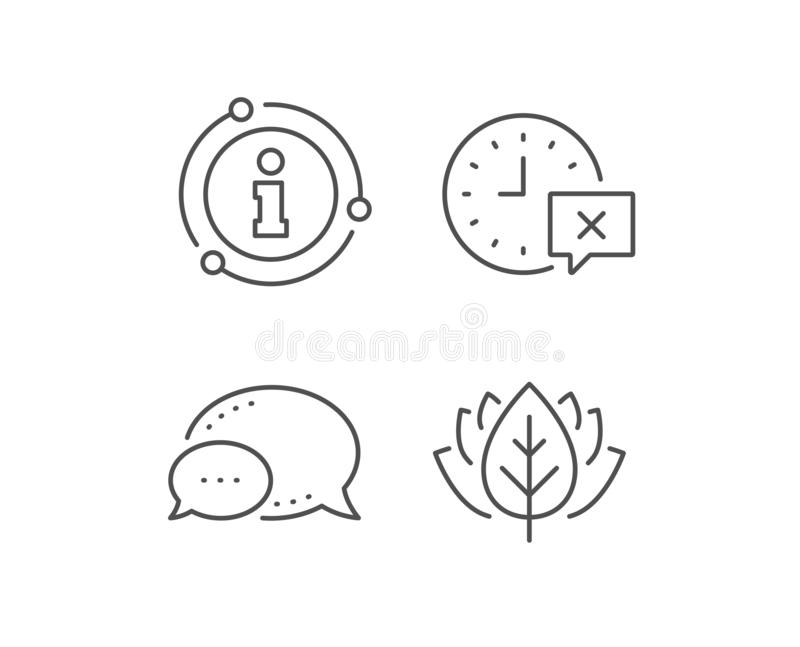 Time line icon. Remove alarm sign. Vector. Time line icon. Chat bubble, info sign elements. Remove alarm sign. Linear time outline icon. Information bubble vector illustration