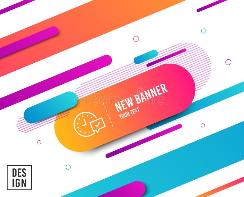 Time line icon. Select alarm sign. Vector. Time line icon. Select alarm sign. Diagonal abstract banner. Linear select alarm icon. Geometric line shapes. Vector stock illustration
