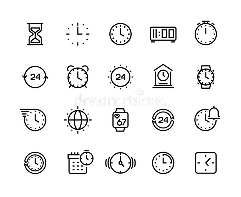 Time line icons. Clock calendar timer watch and hourglass vector symbols, waiting and working hours pictograms isolated vector illustration