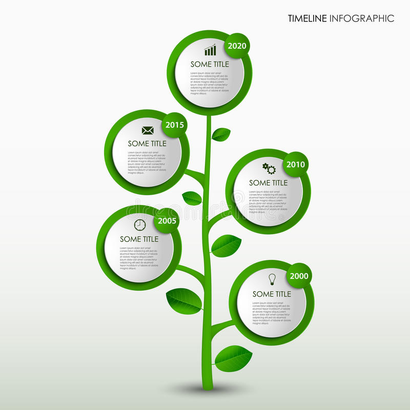 Time line info graphic with abstract design green tree template royalty free illustration
