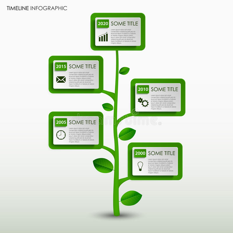 Time Line Info Graphic With Abstract Green Tree Design Template ...