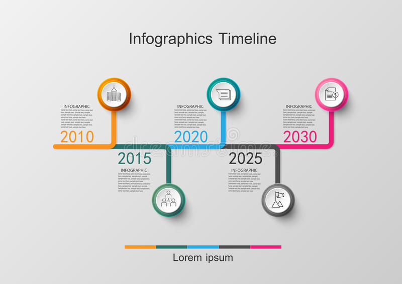 Time line infographic and icons design template. Vector illustrations royalty free illustration