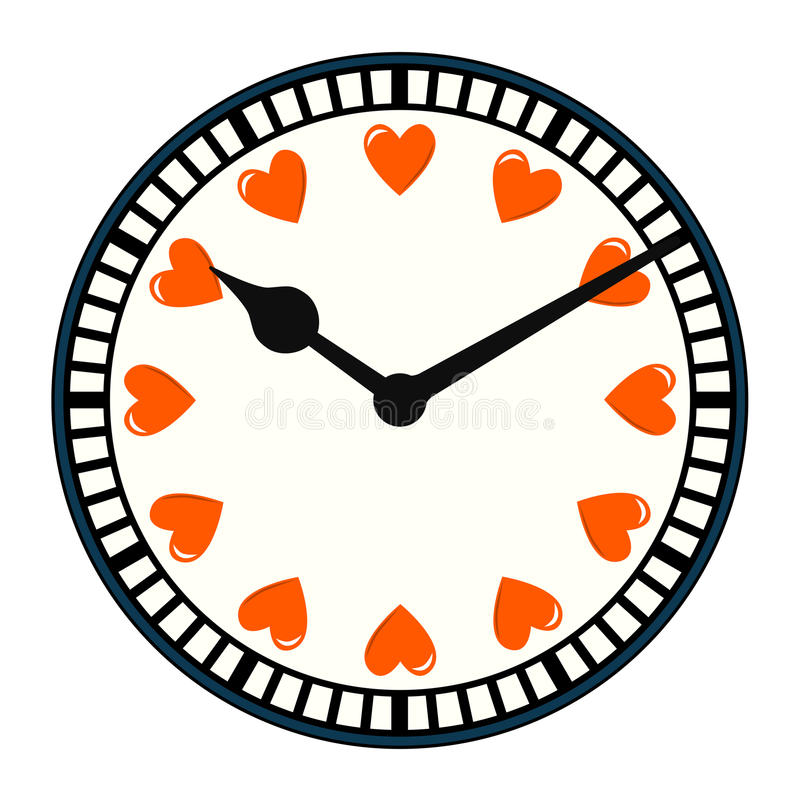 Time for Love. Clock with love hearts in place of numbers. Assets are on separate layers stock illustration