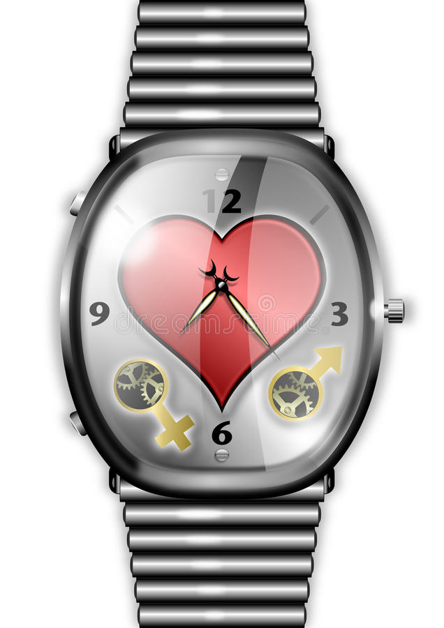 Time For Love concept watch with heart royalty free stock photo
