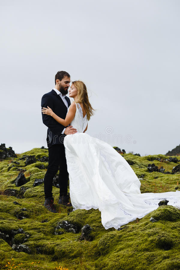 Time of love. Newlyweds enjoying romantic time in natural environment royalty free stock images