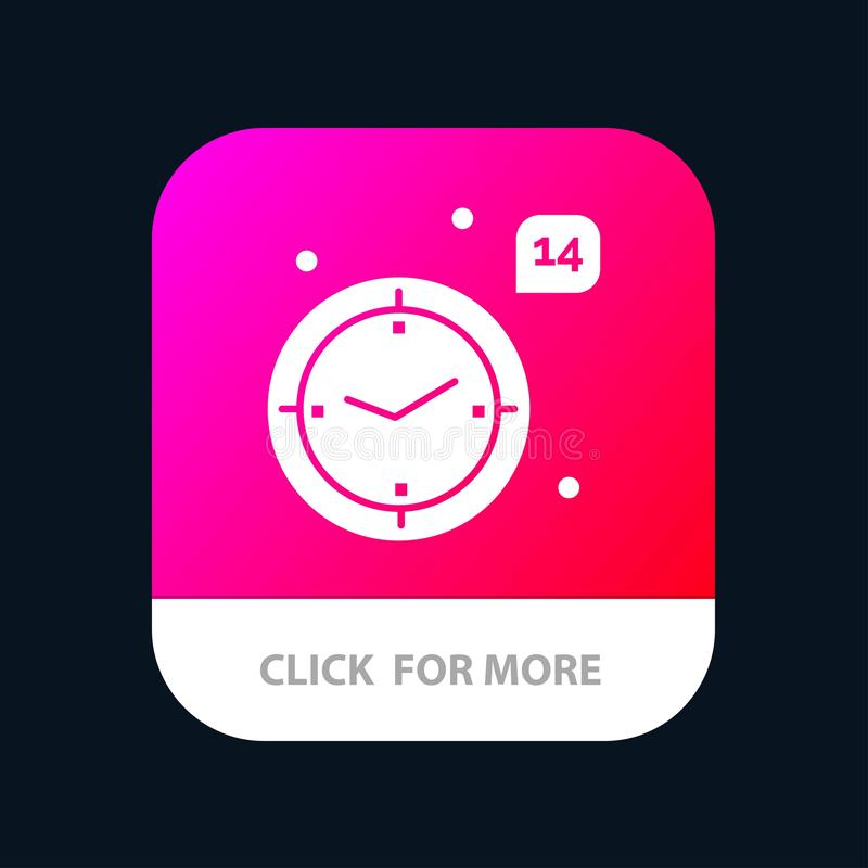 Time, Love, Wedding, Heart Mobile App Button. Android and IOS Glyph Version royalty free illustration