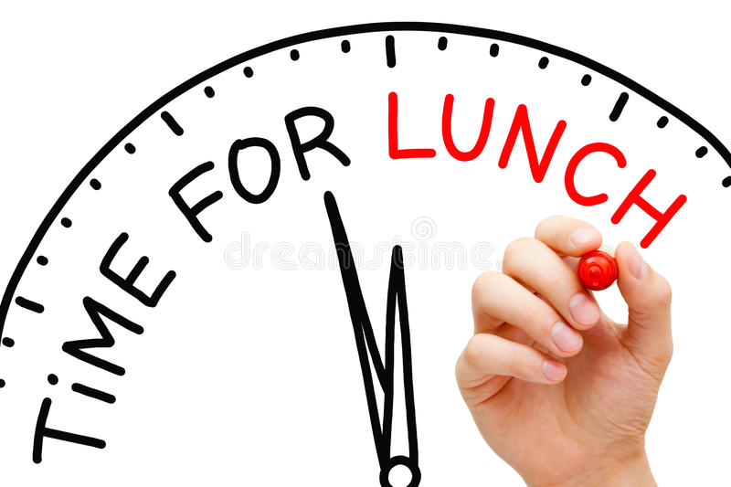 Time for Lunch. Hand writing Time for Lunch concept with red marker on transparent wipe board royalty free stock photography