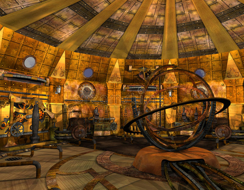 At a time machine. 3D Rendering Interior view of a time machine royalty free illustration