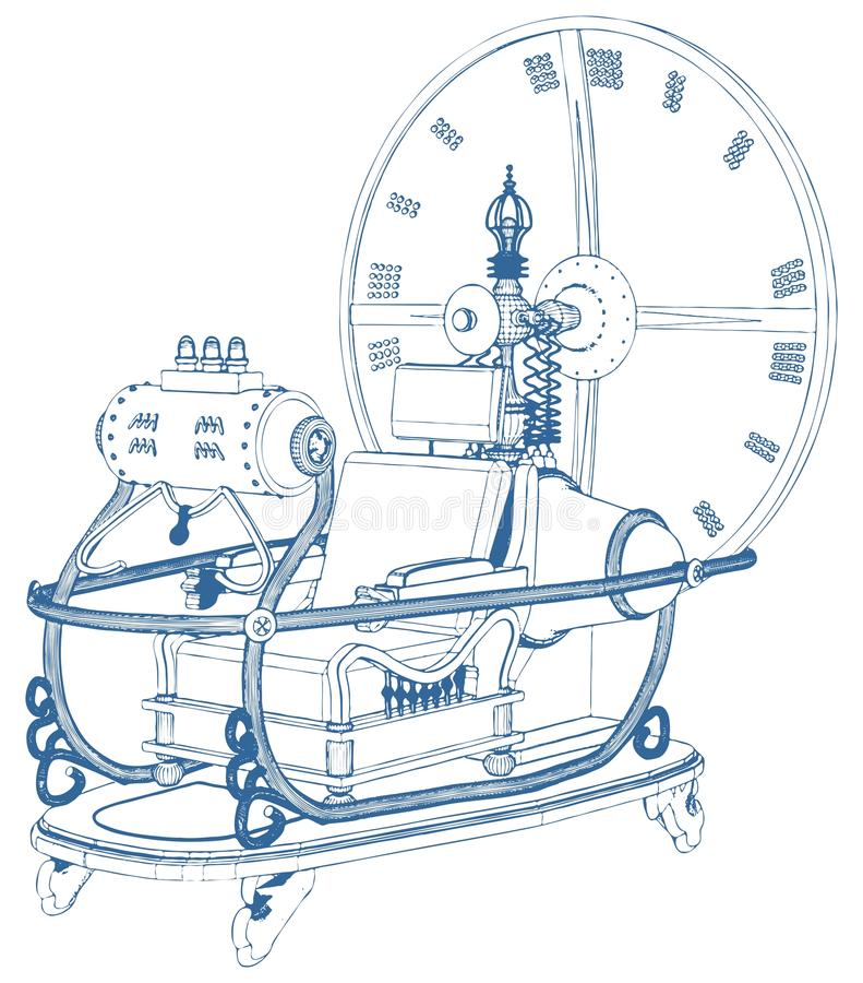 Time Machine Isolated On White Background Vector royalty free illustration