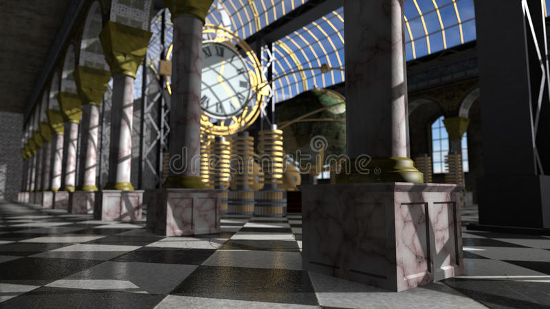 Time machine in victorian interior. 3D rendering stock illustration