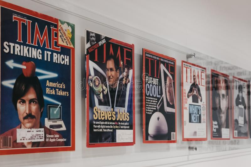 Time magazines with Steve Jobs on the cover inside Apple Museum in Prague, Czech Republic. Prague, Czech Republic - August 28, 2018: Time magazines with Steve stock photography