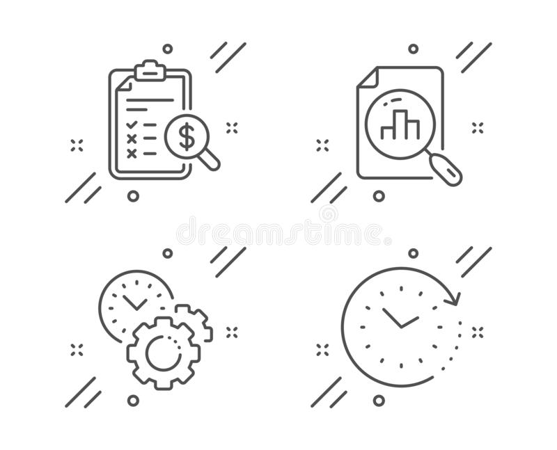 Time management, Analytics graph and Accounting report icons set. Time change sign. Vector. Time management, Analytics graph and Accounting report line icons set royalty free illustration