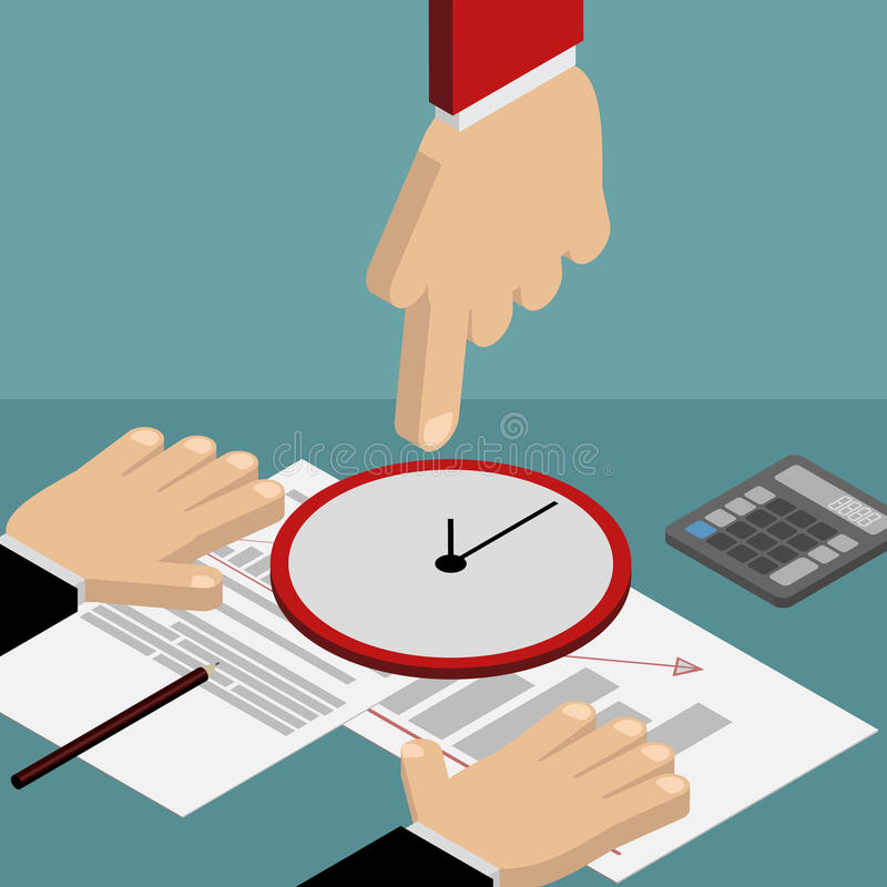 Time management, business planning. Hand pointing at his watch i stock illustration