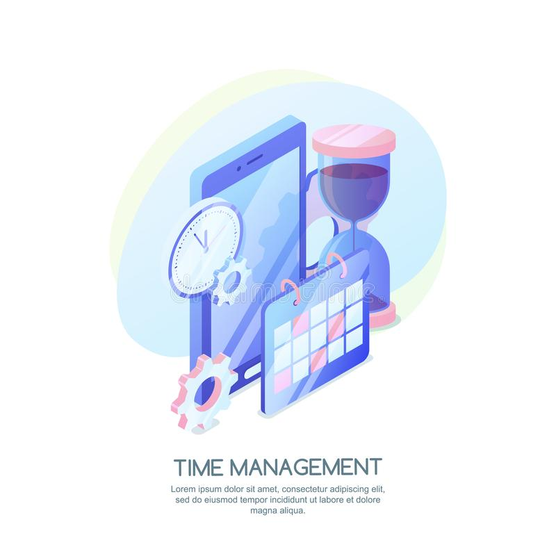 Time management, business strategy, planning concept. Vector 3d isometric illustration of schedule mobile app vector illustration