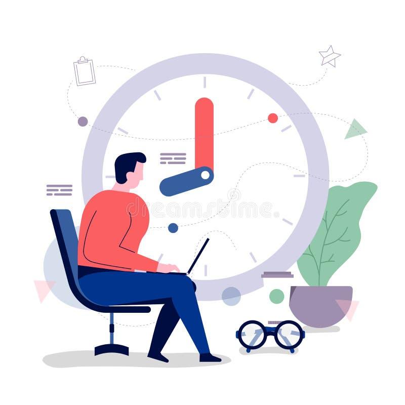 Time management. Businessman office workers With time management to optimize the business. Vector illustrations. Flat design concept vector illustration