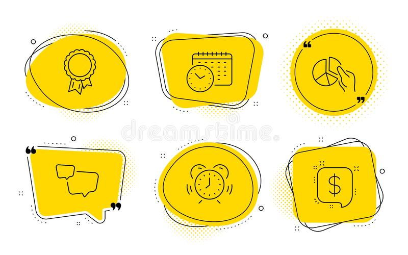 Time management, Calendar time and Pie chart icons set. Speech bubble, Success and Payment message signs. Vector. Speech bubble, Success and Payment message vector illustration