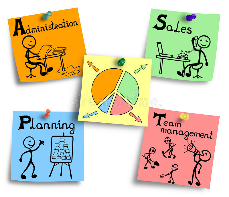 Time management chart illustration on a colorful notes. royalty free illustration
