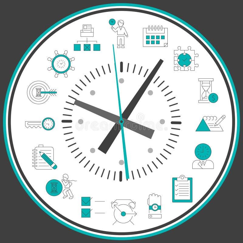 Time management clock stock illustration