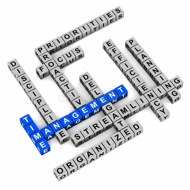 Time management concept. Concept of time management, crossword made up of blocks on clean surface, time management words in blue vector illustration