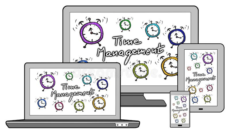 Time management concept on different devices. Isolated on white stock illustration