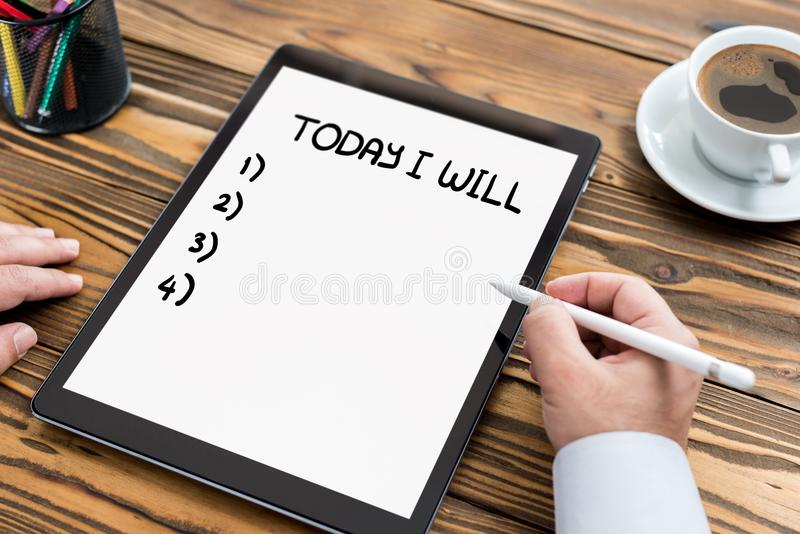 Time Management Concept on Digital Tablet. Screen stock photography