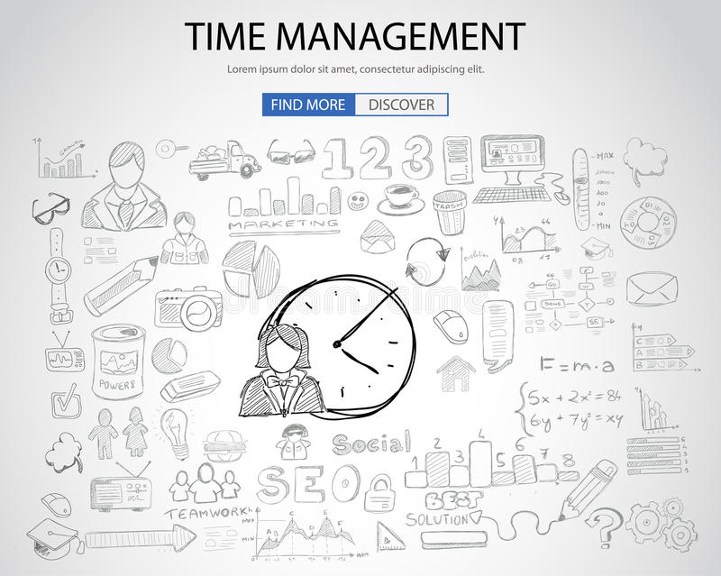 Time Management concept with Doodle design style royalty free illustration