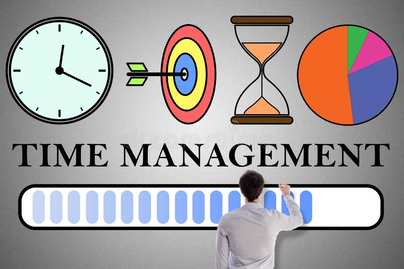 Time management concept drawn by a man. Time management concept drawn by a businessman royalty free illustration