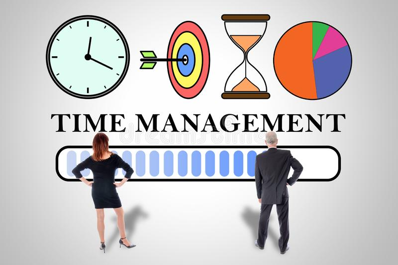Time management concept watched by business people. Time management concept drawn on a wall watched by business people stock illustration