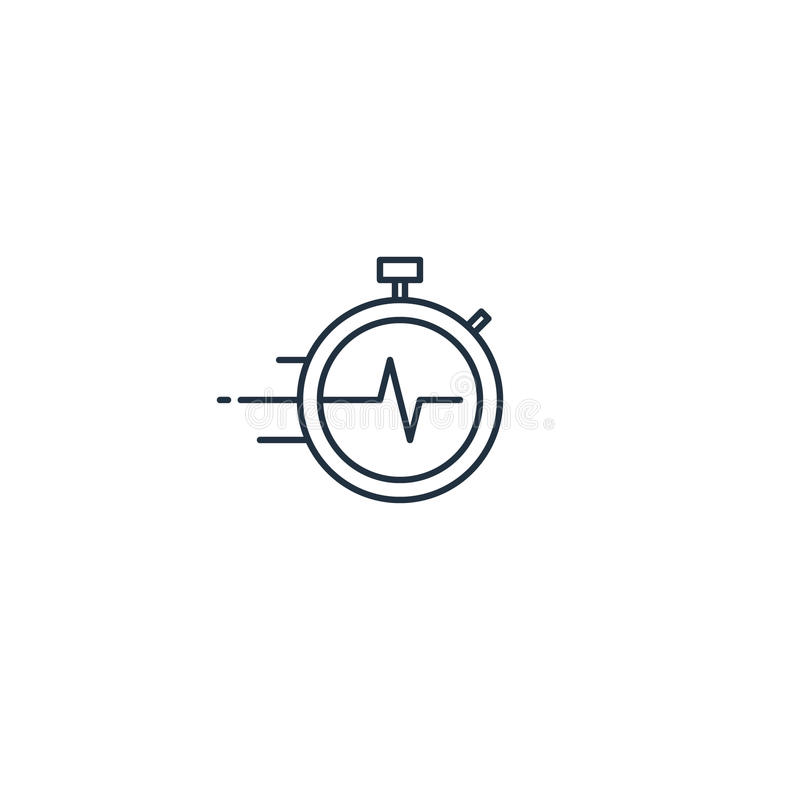 Time management concept, fast delivery services linear icon stock illustration
