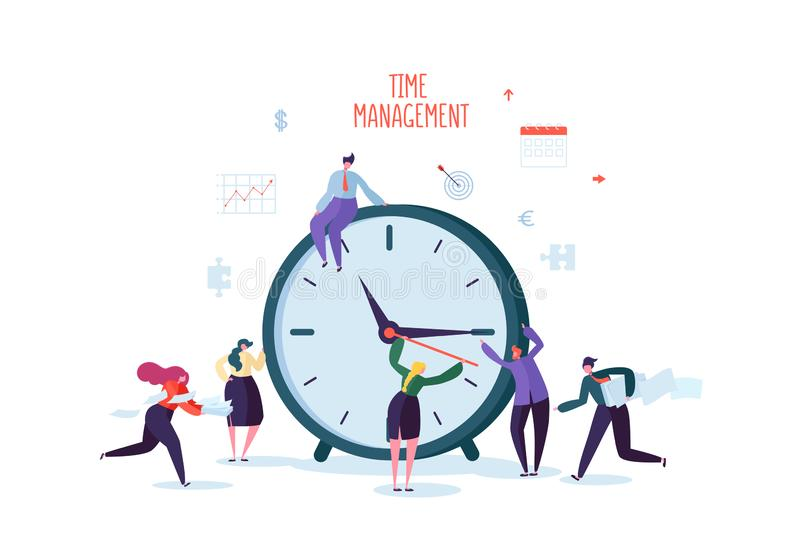 Time Management Concept. Flat Characters Organization Process. Business People Working Together Team Work vector illustration