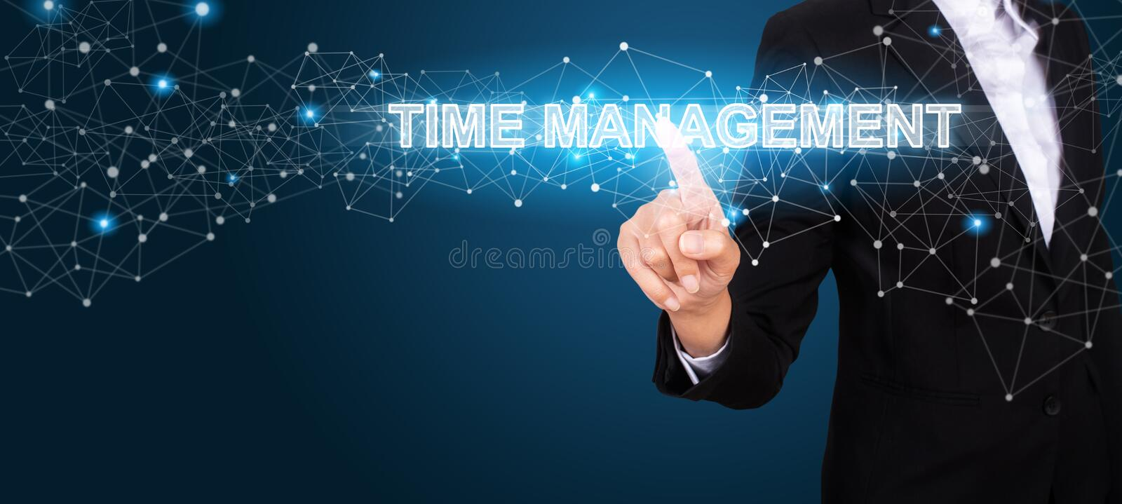 Time Management concept with Hand of business pressing a button royalty free stock photography