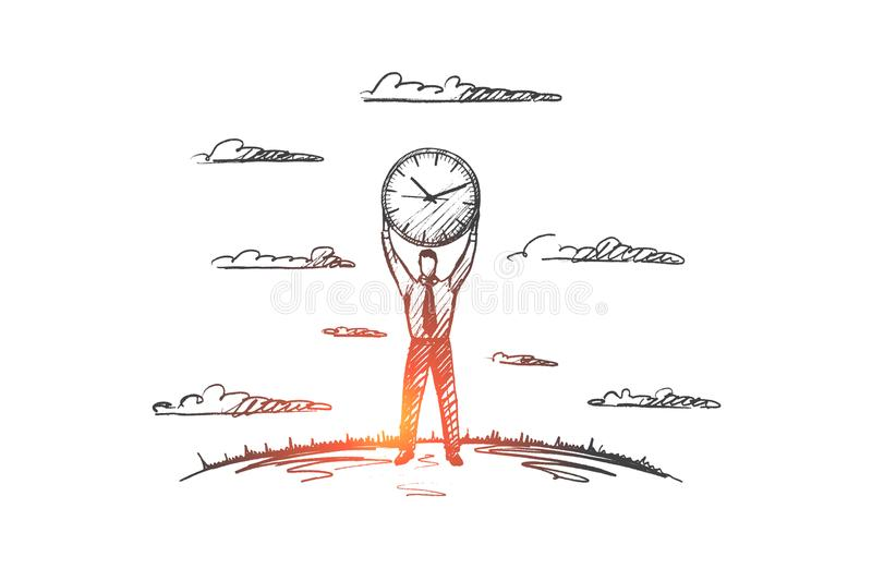 Time management concept. Hand drawn isolated vector. stock illustration