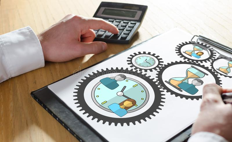 Time management concept on a clipboard. Time management concept with hand using a calculator vector illustration