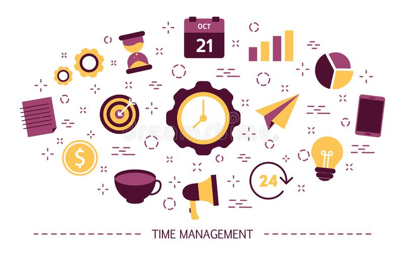 Time management concept. Idea of schedule and organization. Productive day and work optimization. Set of colorful icons. Isolated flat vector illustration stock illustration