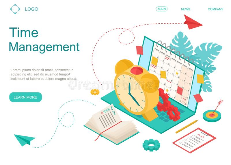 Time Management Concept Landing Web Page Template. Vector stock illustration