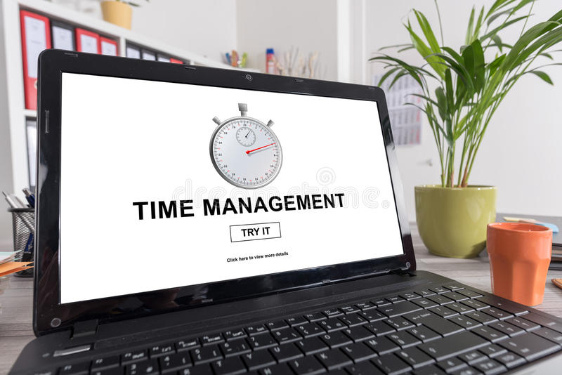 Time management concept on a laptop stock images