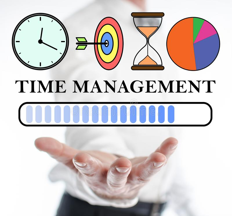 Time management concept levitating above a hand. Of a man royalty free stock photos