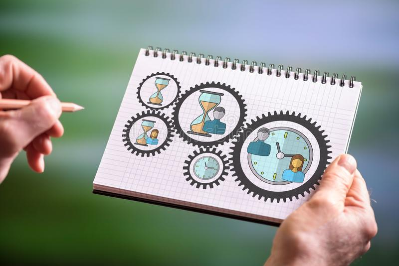 Time management concept on a notepad stock photos