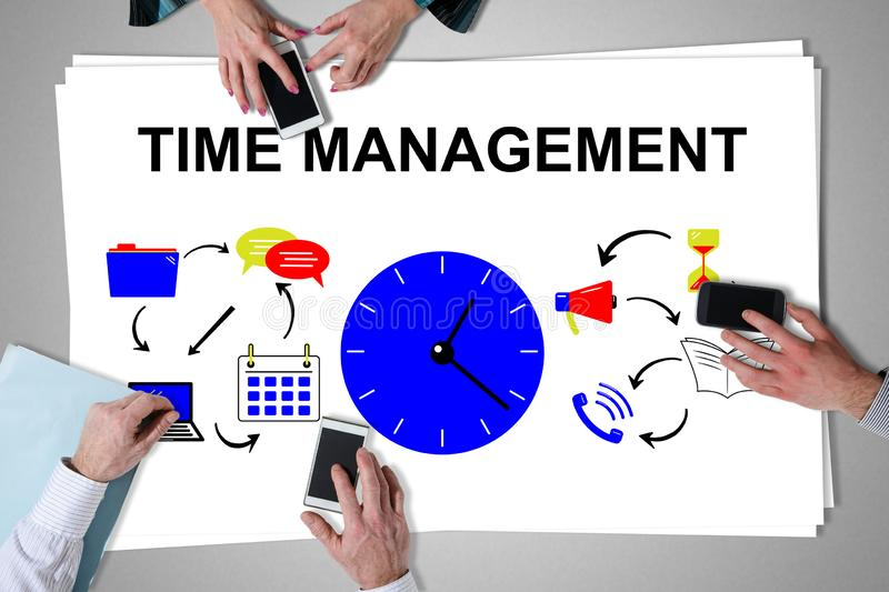 Time management concept placed on a desk. With hands using smartphones vector illustration