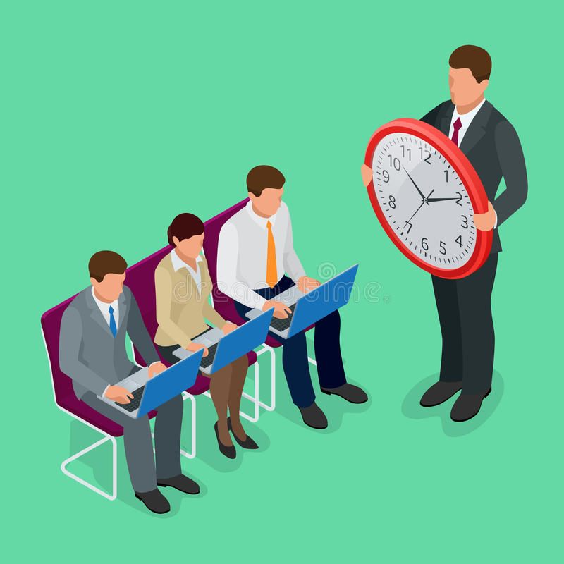 Time management concept planning, organization, working time concept. Flat 3d vector isometric illustration. vector illustration