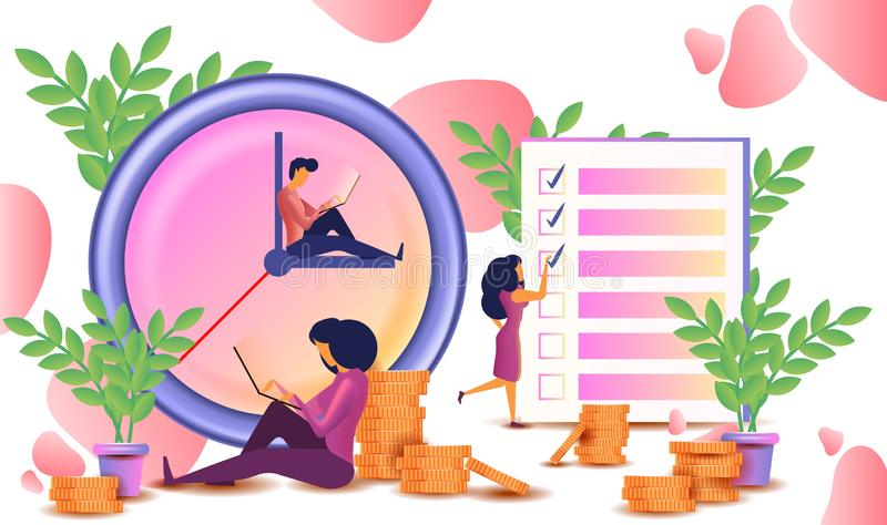 Time management concept planning, organization, working time. vector illustration