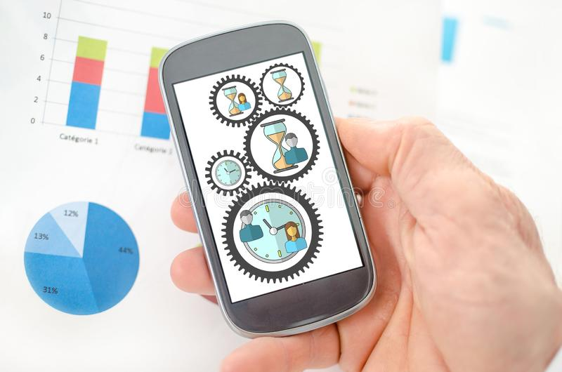 Time management concept on a smartphone. Held by a hand vector illustration